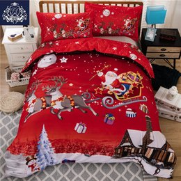 Wholesale King Size Santa Claus Bedding - Wholesale-Christmas Bedding Red Color Santa Claus Bed Linen Christmas Decorations For Bedroom Queen King Size Duvet Cover Pillowcase