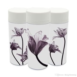 Wholesale tulip flower art - Plastic Insulated Flowers Tulips Kids Water Bottles 300ml Art Gift BPA Free Clear Modern Personalized Minimalist Black White Cup