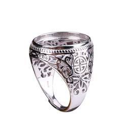 sterling silber ring einstellung oval Rabatt 925 Sterling Silber Männer Verlobung Ehering 17x20mm Oval Cabochon Semi Mount Ring Vintage Antik Türkis Einstellung