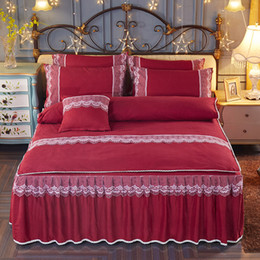 Wholesale Girls Pink Duvet - Modern Pattern Polyester Solid Color Bed Skirt for Wedding Decoration Women Girls Queen King Twin Size 4pcs Bed spreads