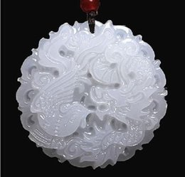 Wholesale White Jade Antique - Natural Afghanistan White jade Dragon and Phoenix pendant