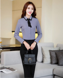 Wholesale Woman Business Shirt - Two Piece Sets Women Business Suits with Pant and Blouses Sets Tops Ladies Grey Shirts with Tie Pantsuits