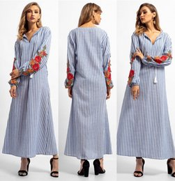 2019 abaya vêtements islamiques femmes 2018 Mode Rayé Col V Robe musulmane Femmes Abaya Moyen-Orient Longue Robe De Plage Appliquée Dubaï Arabe Vêtements Islamiques FS5826 abaya vêtements islamiques femmes pas cher