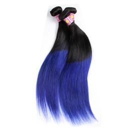 3 Bundles pro Set Peruanische Remy Reine Haarweberei Charmante Haar Ombre Colore 1B BLAU Gerade Peruanische Virign Haarwebereien von Fabrikanten