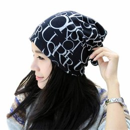 универсальная шляпа Скидка snowshine4 #L030 Classic Fashion Hip-Hop English Letter Multi Purpose Baggy Hat Unisex Scarf Beanie Cap