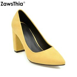 85e594ffde4 ZawsThia 2019 spring summer yellow black block high heels shoes for women  classic pointed toe single shoes pumps party stilettos