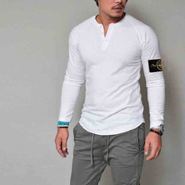 Wholesale Island Shirts - 2018 new hot sale fashion men's self-cultivation V-neck long-sleeved island muscle T-shirt T-shirt casual shirt Size S-XXL