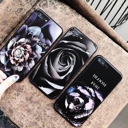 pintura colorida do rosa Desconto Yunrt colorido pintado rose flor caixa de vidro para iphone x 10 tampa do vidro temperado bumper no para apple iphone 6 s 7 8 plus x case