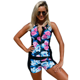 3148e7a1e0848 Female Color Flower Print Front Zipper Sport Swimsuit Boxer Shorts Tankini  Bikinis Set Summer Beach Wear Swimwear Bathing Suits