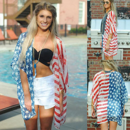 Wholesale women blouse shirts - American Flag Print Blouse Chiffon Loose Long Sleeve Cardigan Lady Shirt Cover Up Summer Beach Blouses KKA442