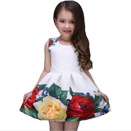 Wholesale linen lace wedding dresses - 2017 new summer girls dress white designer brand new children clothing rose flower princess wedding party Lace girl clothes