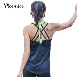 black female yoga pants wholesale Promo Codes - Picemice Womens Sport Shirts Yoga Tops Sleeveless Vest Fitness Running Clothes For Female Breathable Tank Tops Running Vest