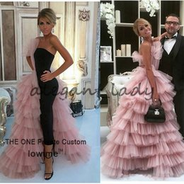 Wholesale Short Straight Dress Design - Csiriano Unique Design Black Straight Prom Dress 2017 Couture High Quality Pink Tulle Tiered Long Evening Gowns Formal Women Party Dress