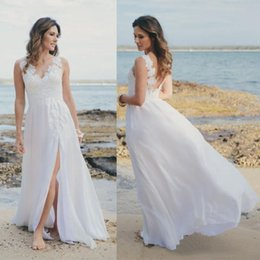 Wholesale cheap wedding reception - 2018 Cheap Beach Wedding Dresses V Neck Backless A Line Chiffon Split Bridal Gowns Custom Made Vestido De Noiva Reception Dress for Bride