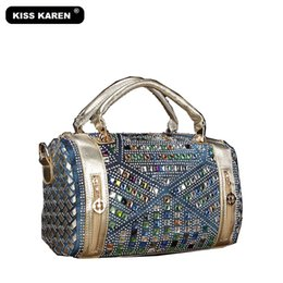 Цельные сумочки онлайн-KISS KAREN  Vintage Fashion Rhinestone Denim Handbags Women Shoulder Bags Casual Totes Women Bag Noble Jeans Boston Bags
