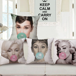 Wholesale Marilyn Monroe Throw - Audrey Hepburn Marilyn Monroe pillow cover 6 styles throw cushion pillow case home textile 18 x 18 inch