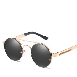 643572856d Gothic Steampunk Round Metal Sunglasses for Men Women Mirrored Circle Sun glasses  Brand Designer Retro Vintage eyewear UV400
