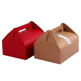 Крафт-Бумага West Point Выпечки Торт Коробка Коробка Портативный Выпечки Торт Cookie Контейнер С Ручкой Для Кухни Хлеб Упаковочная Коробка cheap container cake paper от Поставщики бумага для торта