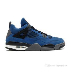 Wholesale Thunder 4s - Basketball Shoes 4 Eminem Encore Pure Money White Cement Royalty Bred Toro Bravo Thunder Green Glow Shoes 4s Mens Basketball Sneakers