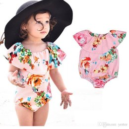 6453ed5068 One Piece Newborn Toddler Kids Baby Girl 2017 New Apparel Ruffle Romper  Floral Flower Print Swimwear Swimsuit Monokini Bikini