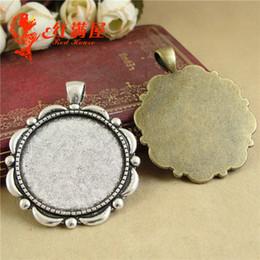 Wholesale A4247 MM Fit MM gros alliage rétro bijoux accessoires en métal rond estampage vide diy pendentif en argent base paramètres cabochon