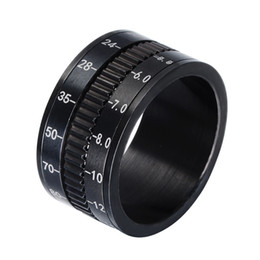 Wholesale unique wedding bands - HIP Hop Men Ring Rotate Camera Black Unique 12mm Width Stainless Steel Middle Spinner Rings for Men Jewelry