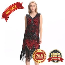 Wholesale girl s night - RED Flapper Girl 1920s Sequined Inspired Beaded Gatsby Flapper Club Dress Plus Size S M L XL XXL