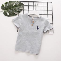 Camiseta de niños recién llegados online-camiseta de algodón 2018 INS NEW LLEGADA niño niñas camiseta de manga corta de algodón de alta calidad causal puro color verano POLO camiseta 4 colores