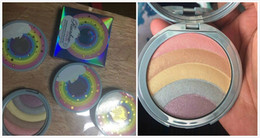 Wholesale Rainbow Stock - 24pcs New makeup Rainbow Highlioghter Strobe Glow pressed Powder 5colors in 1 palette highlighter in stock
