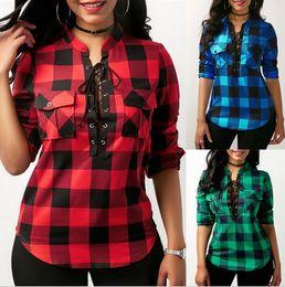 Wholesale Blouse M - Women Plaid Bandage sweatshirts V-neck loose blouse Shirt k long Sleeve pullover blouses Check Plaid Loose Long Sleeve T Shirt LJJK881