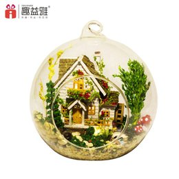 Wholesale dolls glasses - Furniture 3D DIY Doll House Wooden Miniatura Mini Glass Cover Ball Model Building Kits Wooden Miniature Toys For Children lover