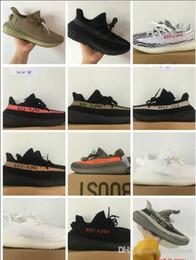 Wholesale Cream Color Boots - 2017 SPLY-350 Boost V2 Kanye West Boost 350 V2 SPLY Running Shoes Zebra Zebras FTWR WHITE Bred Black Red Grey Orange Stripes 10 Color