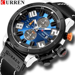 curren chronograph Rabatt Luxus-Herrenuhr-Mode-Chronograph-Quarz-Digital-Armbanduhr CURREN-Lederband-Uhr mit wasserdichtem 30M Reloj Hombre