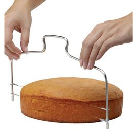 Wholesale Cake Knifes - 2018 New Double Line Adjustable Baking Tools DIY Mould Stainless Steel Cake Tools Cake Bread Slicer Cutter Strings Knife