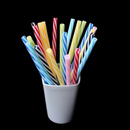 Wholesale beverage quality - 25 Pc  Lot High Quality 19 .5cm Party Straws Reusable Biodegradable Distored Color Beverage Hard Plastic Stripe Drinking Straws