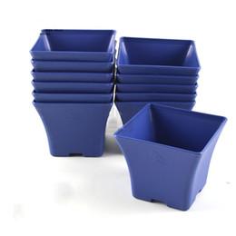 Wholesale Basin S - 2018 NEW Blue Charming Spain Basin Square Flower Pot Bonsai Nursery Planter Lithops Grow Pots for Home Garden Table Dercoration