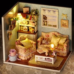 Wholesale furniture for dolls - Doll House Diy miniature Wooden Puzzle 3D Dollhouse miniaturas Furniture House Doll For Birthday Gift Toys H07