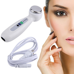 Wholesale Ultrasound Beauty Instrument - Ultrasound Ultrasonic Body Vibration Massager Beauty Instrument Wrinkle Acne Remover Face Lift Facial Skin Care Device Machine 0609039