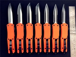 Wholesale Ladies Gift Sets Wholesale - Orange Large A07 double action automatic knives tactical knife 440C steel Two-tone EDC tactical knife Not Damascus gift for lady woman