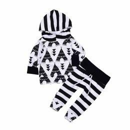 6c7e59612c7 Striped Hoodie Baby Kids Boys Clothes Top + Pants Outfits 2PCS Set Newborn  Baby Cotton Clothing Geometric Boutique Black White Toddler 0-24M