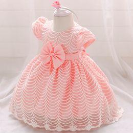 Vestido de princesa de 12 meses online-Baby Girl Clothes Vestido de novia para niñas Bautizo Princess Dress Infant 2 1 año Primer cumpleaños Girl Party Dress 6 12 meses