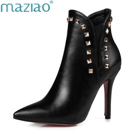 high heel ankle boots size 12 2019 - MAZIAO Ankle Boots Women Rivets Thin  High Heel 70e3cd4028