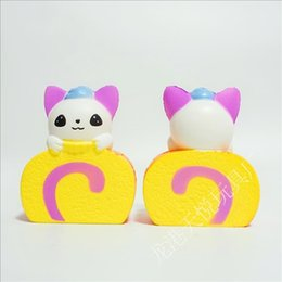 Wholesale Toy Cats For Kids - Cat Swiss Roll Cake Shape PU Squishy Cartoon Slow Rising Squishies For Adult Kids Stress Reliever Toy 13lq B