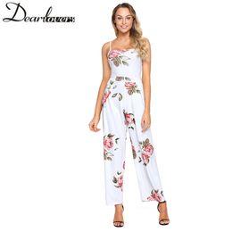 Wholesale Floral Strapless Jumpsuit - Dear Lover Floral Print 2018 Summer Jumpsuit Romper Wide Leg Long Playsuit Strapless Sexy Backless Lace Up Bodysuit Beach 64382