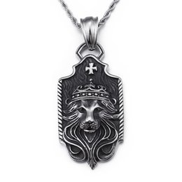 vintage mens chain pendant Coupons - 2018 XMAS Gifts Biker Stainless steel Large 34*69mm Lion Cross pendant Mens Vintage Necklace