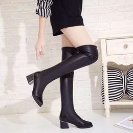 2018 Klassische Flache Stiefel Schuhe Frauen Winter damen lange Stiefel  Schwarz Kniehohe Versteckte Ferse Stretch Stoff Frau Botas 565335d5f6