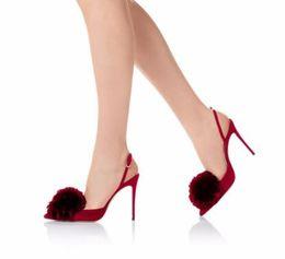 Красный Розовый Бахрома Высокие Каблуки Обувь Сексуальная Острым Носом Тонкие Каблуки Женская Обувь Лодыжки Пряжки Ремень Slingback Женщины Насосы от