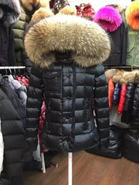 Wholesale Detachable Raccoon Collar - luxury Brand design M Jacket big 100% Real Raccoon Fur Coat Women Down Coat Detachable Collar Hood Parkas