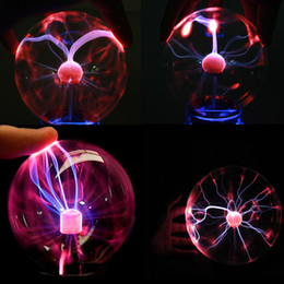 2019 lumières de boule de plasma Nouveau Magic USB Verre Plasma Ball Sphere Lightning Lampe Lumière Parti Noir Base vélo lumière AUGUST28 lumières de boule de plasma pas cher