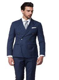 Wholesale tailor made formal pants - Tailor Made Blue Stripe Men Suits Slim Fit Formal Groom Prom Tuxedo Best man Male Coat 2 Piece Blazer Jacket+Pants Masculinos